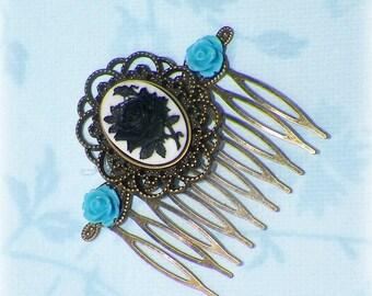 Gothic Black Rose Hair Comb Victorian Cameo Blue Bridal Gyspy Boho Vintage Style Steampunk Wedding Gothic Bohemian