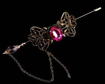 Shawl Pin Pink Gold Brooch Victorian Steampunk Vintage Style Scarf Pin Hair Slide Edwardian Filigree Antique Inspired Stick