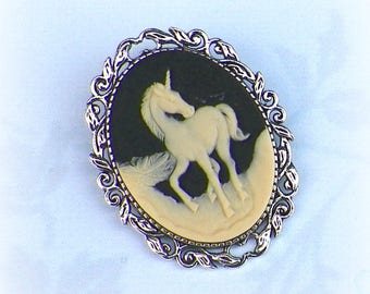 Unicorn Pin Brooch Cameo Victorian Horse Vintage Style Steampunk Antique Silver Style