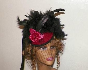 On Sale- Red Gothic Fascinator Black Victorian Steampunk Hat Feather Gothic Steampunk Lolita Headpiece Old West Costume Marie Antoinette