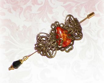 Shawl Pin Fire Opal Gold Brooch Victorian Steampunk Vintage Style Scarf Pin Hair Slide Edwardian Filigree Antique Inspired Stick