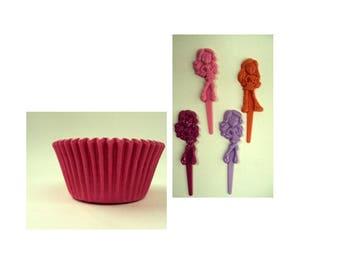 Bratz Cupcake Picks with Pink Baking Cups