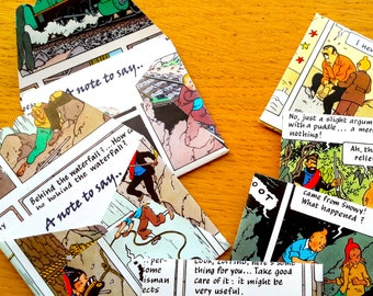 9 Tintin Mini Envelopes / Gift Card- 6 Tintin Note cards- Tintin Comic Book Birthday - Tintin  Party -  Birthday Party  Decor