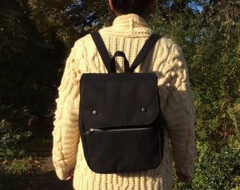 Waterproof Cotton Canvas Backpack, Black, Blue, Red, Small Rucksack, handmade screen print
