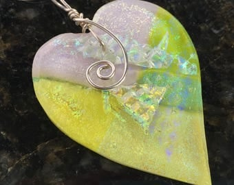Heart Shape Dichroic Glass Necklace