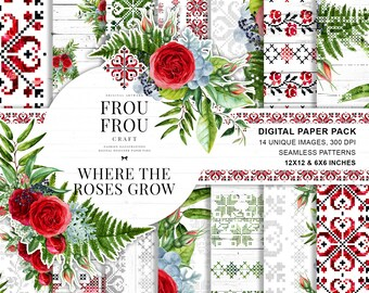 Red Roses Paper Pack, Ethno Digital Paper Pad, Floral Fabric, Traditional Bulgarian Embroidery Designer Pad, Tribal Boho Christmas Planner