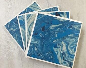 Tile Coasters, Ceramic Coasters, Coasters, Marbled Coasters, Marbled Decor, Blue Marbled Coasters, Blue Coasters, Blue Decor, Marbled Gift