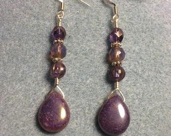 Sparkly purple Czech glass pear drop earrings adorned with sparkly purple Czech glass beads.