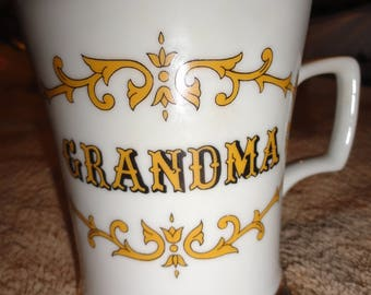 Vintage GRANDMA Knobler Japan White With Yellow Scroll Marquee Gold Banded Poem Coffee Cup