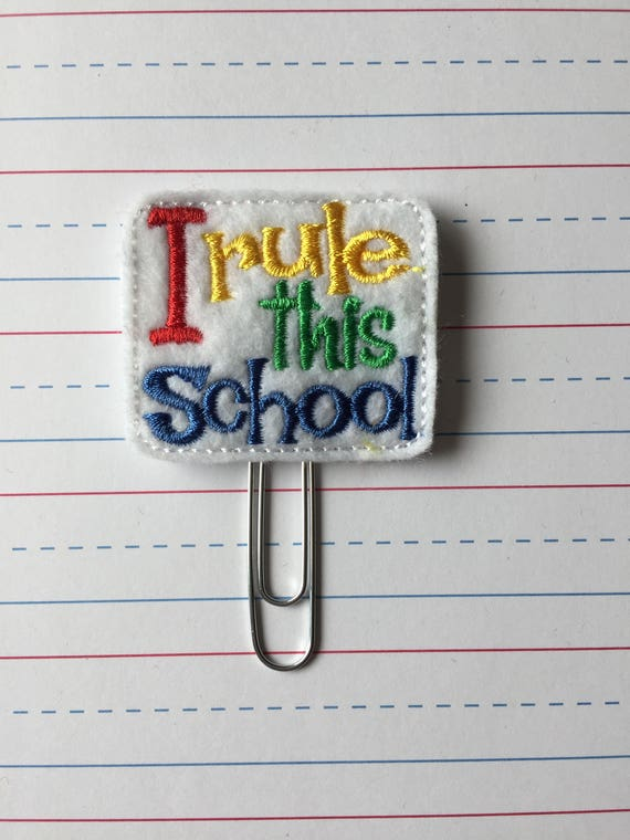 I Rule This School planner Clip/Planner Clip/Bookmark. Apple planner clip. pencil planner clip. School planner clip. Teacher planner clip