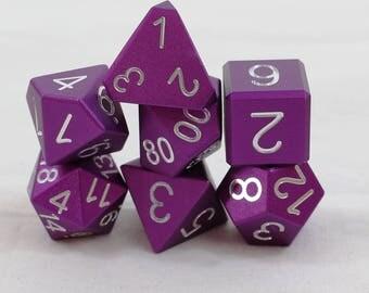 Zucati Dice EleMetal™ - 7pc set  -Royal Purple (S)