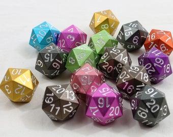 Individual EleMetal Aluminum Dice  - Spindown Numbering - Random Color