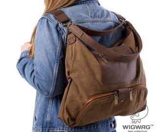 Canvas leather bag, canvas backpack, hobo bag, convertible bag, women's bag, women's backpack, shoulder bag, canvas leather backpack