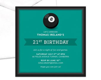 Let's Play Pool Birthday Party Invitation / Billiards Party Invitation / Men's Birthday Invitation / 21st Birthday Party Invitation