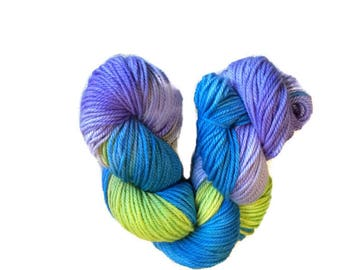 Hand Dyed Superwash Merino Yarn - Sport Weight Yarn - Handdyed Yarn - Blue, Green, and Purple