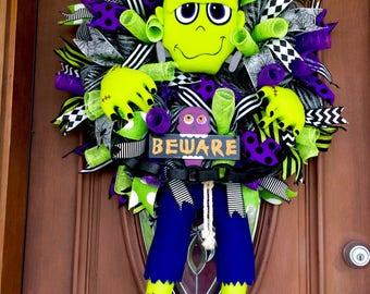 Sale!  Frankenstein Wreath, Halloween Wreath, Frankenstein Door Hanger, Halloween Mesh Wreath, Frankenstein Decor, Front Door Wreath