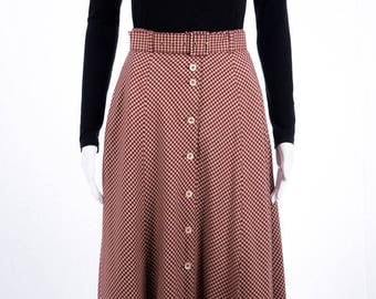 Plaid skirt - vintage - Rot-Weiß - Maxi skirt - skirt with buttons - cottage style - romantic - size S - tight fit - folk style