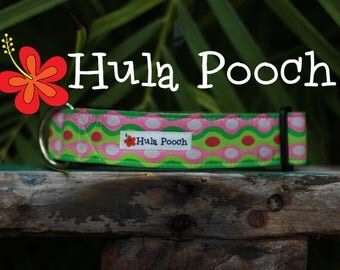 "Dog Collar ""Waves"" Pink Lime Green - Medium, Large, Wide, Adjustable // FREE SHIPPING"