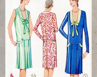 1920s dress vintage sewing pattern reproduction flapper pleat skirt drop waist bust 36