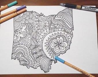 Pagina da colorare per adulti fiori e farfalle zen meditazione - Mappa messico mappa da colorare pagina ...