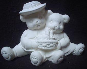 "Ceramic Bisque 5.5"" X 7.5"" Thanksgiving Pilgrim Cuddle Bears - Ready to Paint - C392"