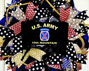 Army wreath, 10th Mountain Division wreath, Military wreath, Army door hanger, Army decorations, Support Our Troops wreath, mesh Army wreath