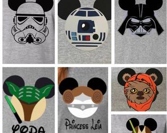 Star Wars Disney Shirts, Disney Star Wars Shirts,  Star Wars Custom Tshirts, Star Wars Family Shirts, Darth Vader, Princess Leia, R2D2, Jedi