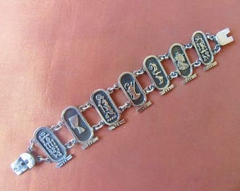 Vintage Egyptian Solid Sterling Silver Bracelet of Egyptian Goddesses Cartouche ...STAMPED