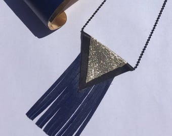 Triangles in black leather and gold, blue fringe necklace
