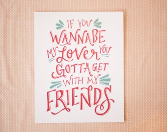 Friends by Spice Girls Hand Lettered Print (8x10 digitally printed)