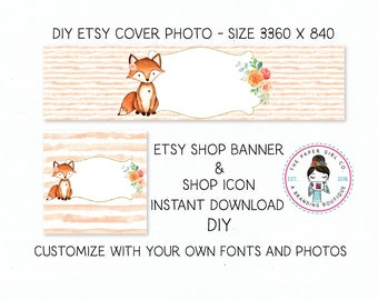 DIY etsy cover set fox etsy shop set premade DIY etsy set DIY etsy branding set Instant Download woodland etsy set