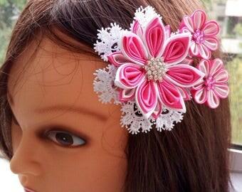 Kanzashi hair clip/Kanzashi flower/Hair clip for girls/Head accessories/Fabric flower hair clip