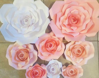 8 piece ROSE Paper Backdrop, Rhinestones, Wedding, Bridal Shower, Backdrop, Wall Decor, Nursery, Photo Booth, Sweetheart Table, Cake Table