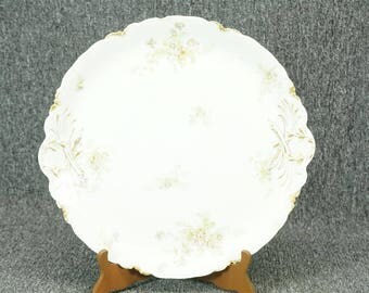 """Vintage Havilland 13 1/2"""" Platter With Gold Bamboo And Green Flowers Pattern"""