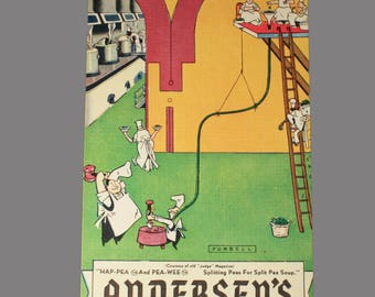 Andersens Pea Soup Restaurant Forbell Postcard, Hap Pea and Pea Wee, Buellton California