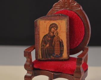 Christian religious  miniature hand made wooden icon perfect for 1/12....1/6 dollhouse..