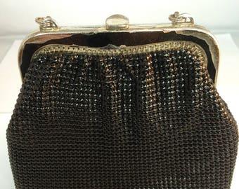 Black Glomesh evening bag with short goldtone strap