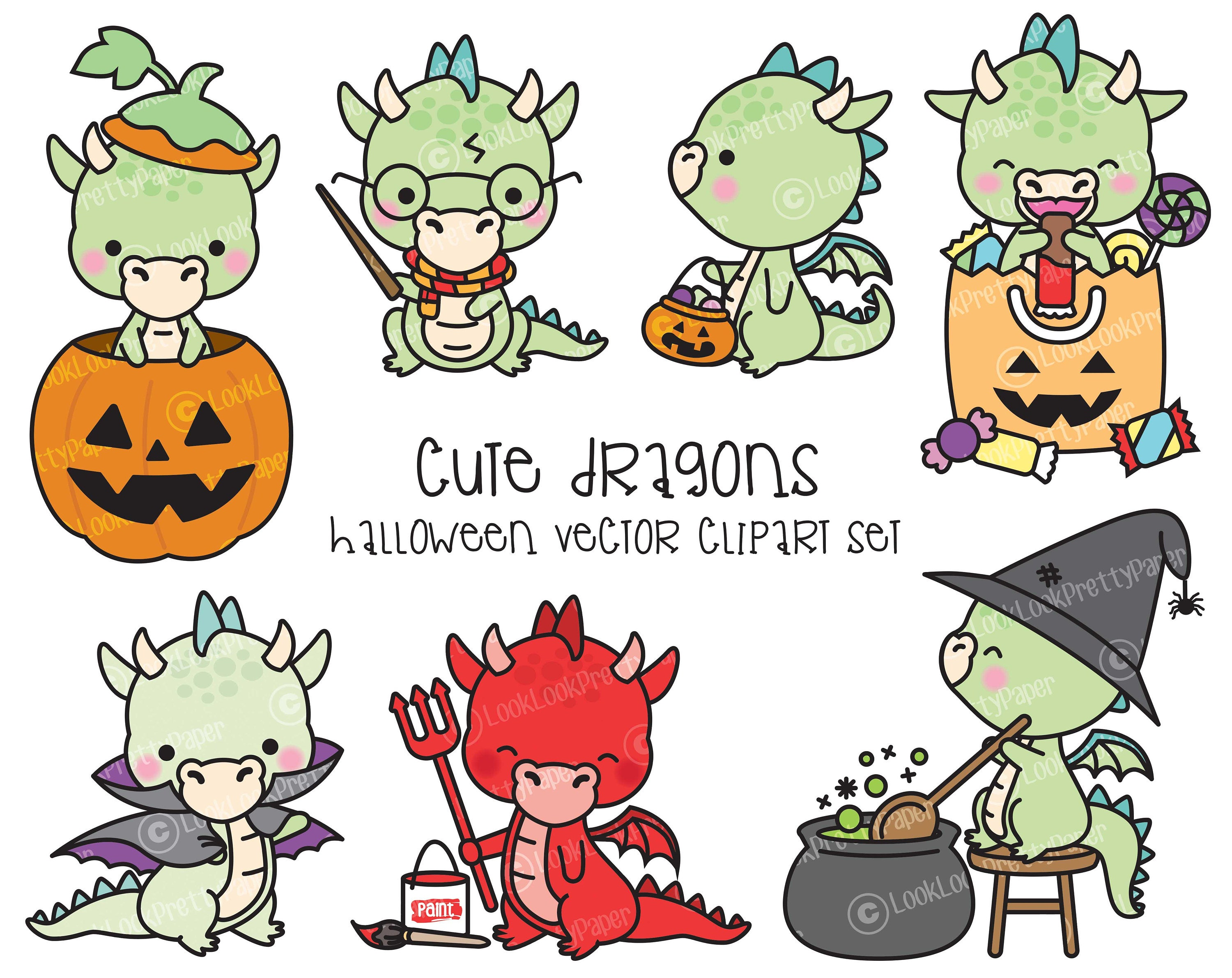 Premium Vector Clipart Kawaii Halloween Dragons Cute