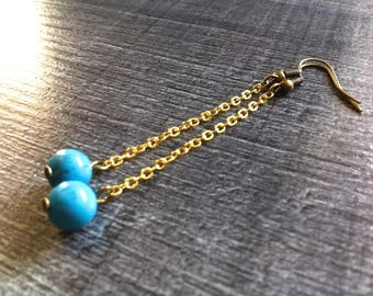 earrings, gold and turquoise - postage available