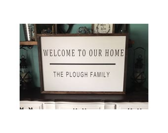 Welcome Sign, Welcome To Our Home, Welcome Wood Sign, Farmhouse Sign, Spring Decor, Farmhouse Decor, Entryway, Housewarming Gift
