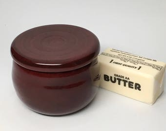Pottery French Butter Crock, Ceramic Butter Keeper, Garlic Roaster