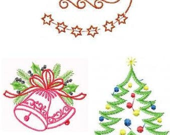 Machine Embroidery Design - THREE Christmas Designs - Instant Download - All for 4X4 HOOP
