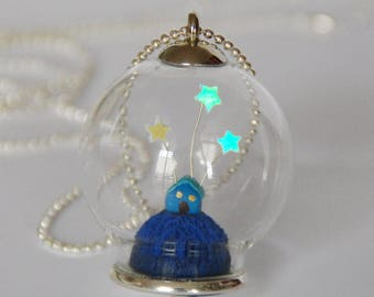 Necklace blue house