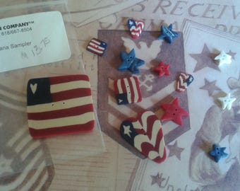 Americana Sampler Button Charms