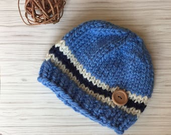 Multicolor navy, cream and light blue, striped hat, baby hat, toddler hat, kid hat, customized hat, beanie hat, knit boy hat