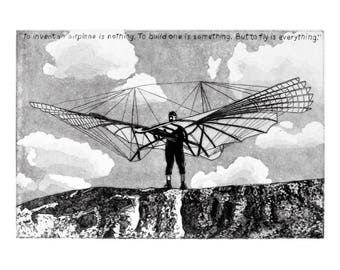 Otto Lilienthal - DIGITAL PRINT -  Black & White Etching of the German Pioneer of Aviation