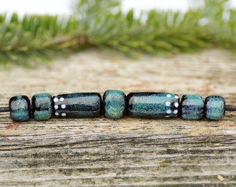 lampwork beads sra rustic handmade lampwork set glass beads black blue lampwork glass beads for jewelry