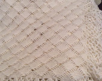New hand crocheted off white woollen baby shawl/blanket 25 x 48 inches