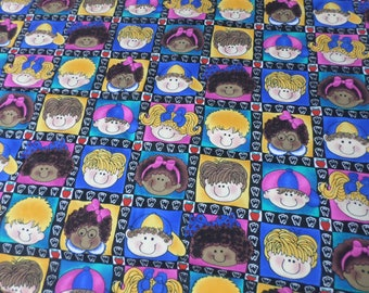 Jelly Bean Junction fabric that has lots of kids faces and has apples that is school fabric that is vintage and rare cotton fabric ..