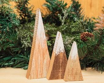Rustic Wood Mountains Triangle Repurposed Pallet Snow Minimalist Holiday Decor Mantel Christmas Decoration Modern Farmhouse